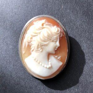 Vintage Silver Cameo necklace/pin